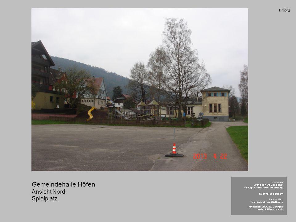 Gemeindehalle Höfen Ansicht Nord Spielplatz 04/20