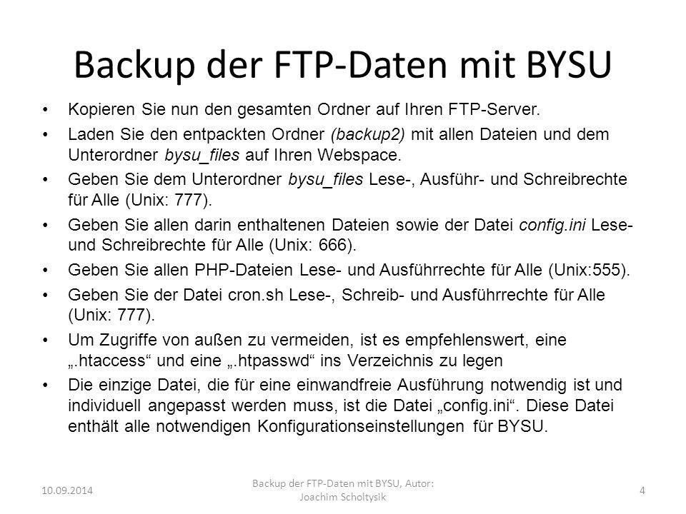 Backup der FTP-Daten mit BYSU Kopieren Sie nun den gesamten Ordner auf Ihren FTP-Server.