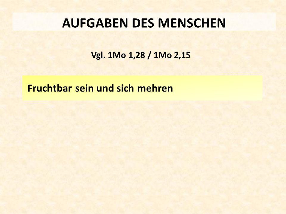 AUFGABEN DES MENSCHEN Fruchtbar sein und sich mehren Vgl. 1Mo 1,28 / 1Mo 2,15