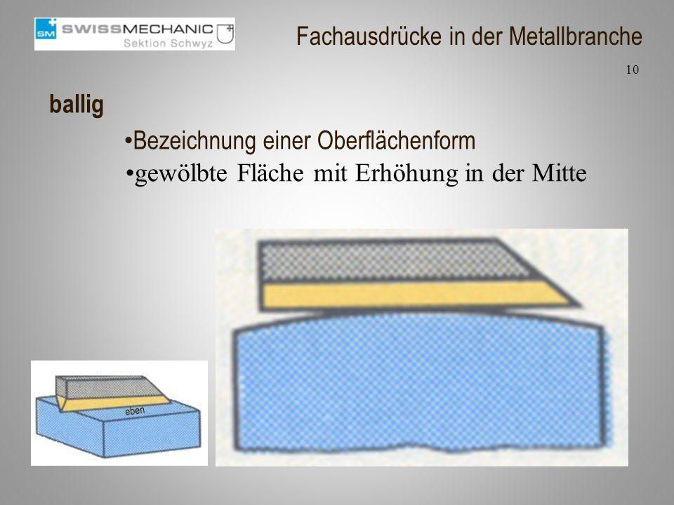 ballig gewölbte Fläche mit Erhöhung in der Mitte 10 Fachausdrücke in der Metallbranche Bezeichnung einer Oberflächenform eben