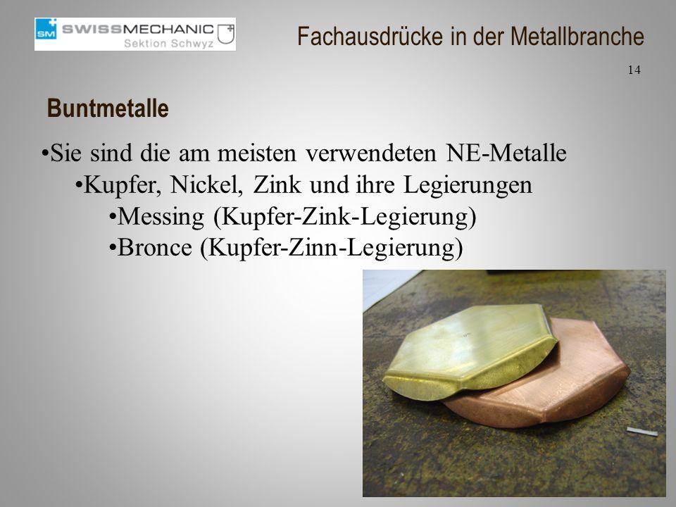 Buntmetalle Sie sind die am meisten verwendeten NE-Metalle Kupfer, Nickel, Zink und ihre Legierungen Messing (Kupfer-Zink-Legierung) Bronce (Kupfer-Zi