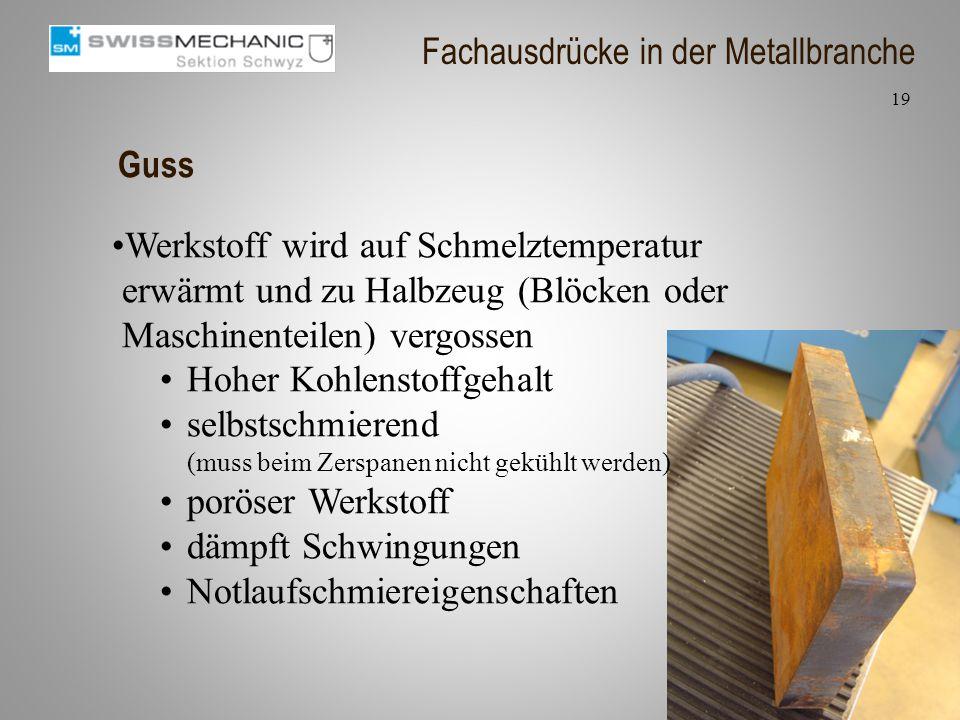 Guss Werkstoff wird auf Schmelztemperatur erwärmt und zu Halbzeug (Blöcken oder Maschinenteilen) vergossen Hoher Kohlenstoffgehalt selbstschmierend (m