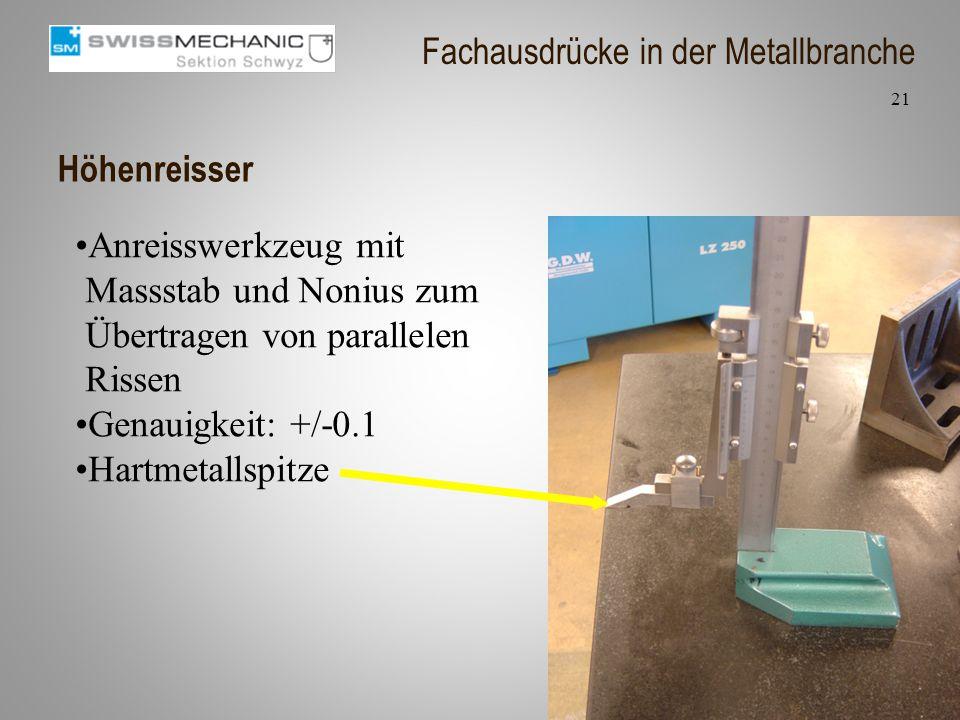 Höhenreisser Anreisswerkzeug mit Massstab und Nonius zum Übertragen von parallelen Rissen Genauigkeit: +/-0.1 Hartmetallspitze 21 Fachausdrücke in der