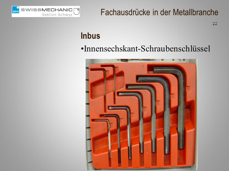 Inbus Innensechskant-Schraubenschlüssel 22 Fachausdrücke in der Metallbranche