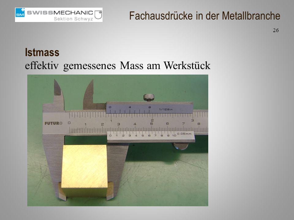 Istmass effektiv gemessenes Mass am Werkstück 26 Fachausdrücke in der Metallbranche