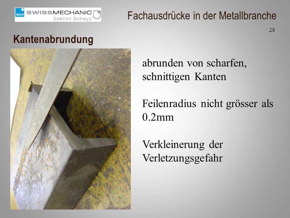 Kantenabrundung abrunden von scharfen, schnittigen Kanten Feilenradius nicht grösser als 0.2mm Verkleinerung der Verletzungsgefahr 28 Fachausdrücke in