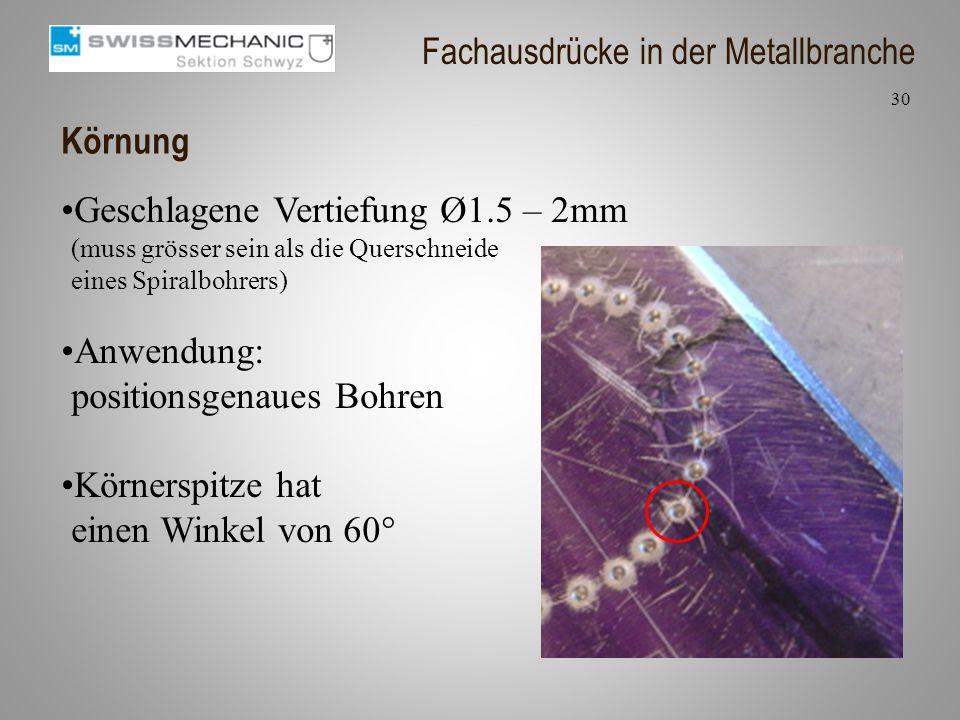Körnung Geschlagene Vertiefung Ø1.5 – 2mm (muss grösser sein als die Querschneide eines Spiralbohrers) Anwendung: positionsgenaues Bohren Körnerspitze