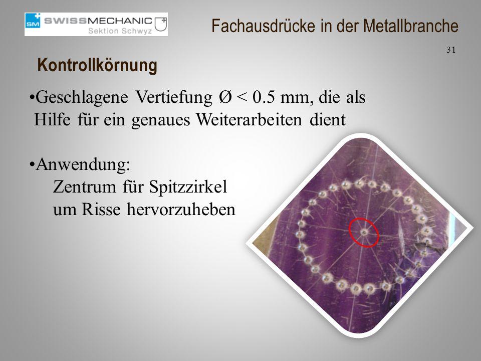 Kontrollkörnung Geschlagene Vertiefung Ø < 0.5 mm, die als Hilfe für ein genaues Weiterarbeiten dient Anwendung: Zentrum für Spitzzirkel um Risse herv