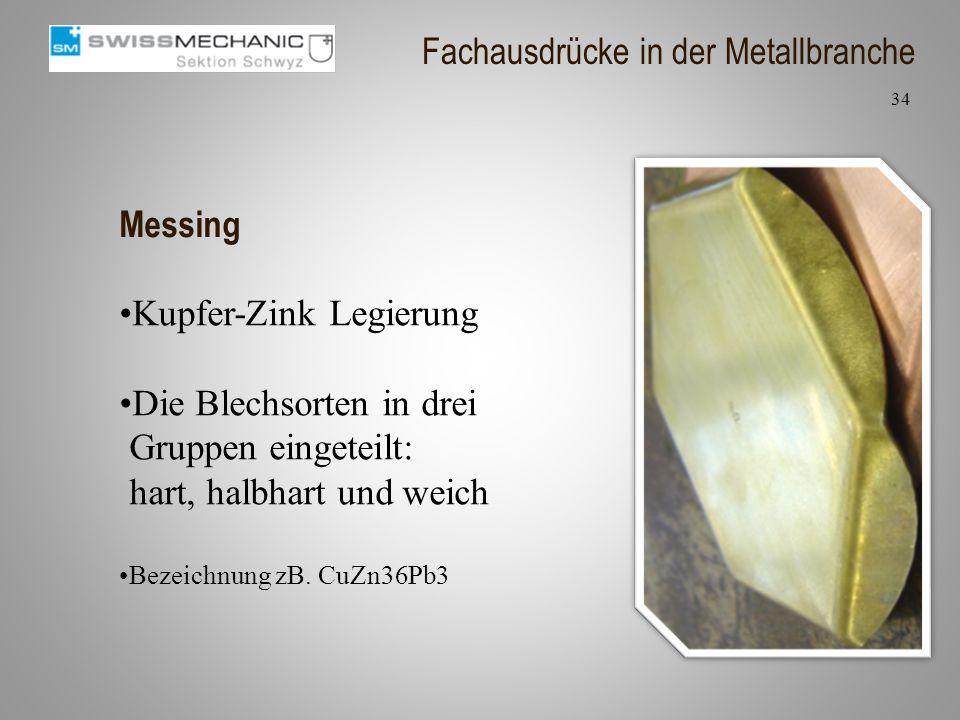 Messing Kupfer-Zink Legierung Die Blechsorten in drei Gruppen eingeteilt: hart, halbhart und weich Bezeichnung zB. CuZn36Pb3 34 Fachausdrücke in der M