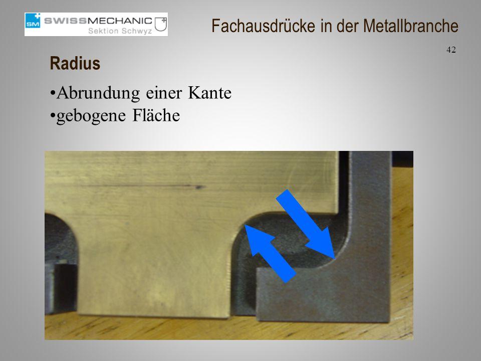 Radius Abrundung einer Kante gebogene Fläche 42 Fachausdrücke in der Metallbranche