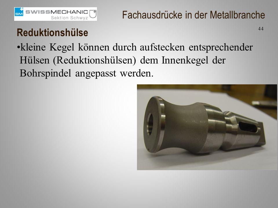 Reduktionshülse kleine Kegel können durch aufstecken entsprechender Hülsen (Reduktionshülsen) dem Innenkegel der Bohrspindel angepasst werden. 44 Fach