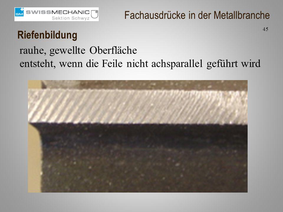 Riefenbildung rauhe, gewellte Oberfläche entsteht, wenn die Feile nicht achsparallel geführt wird 45 Fachausdrücke in der Metallbranche