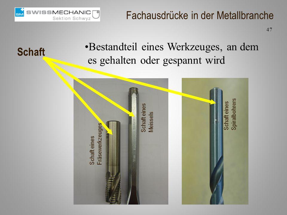 Schaft Bestandteil eines Werkzeuges, an dem es gehalten oder gespannt wird 47 Fachausdrücke in der Metallbranche Schaft eines Fräsewerkzeuges Schaft e