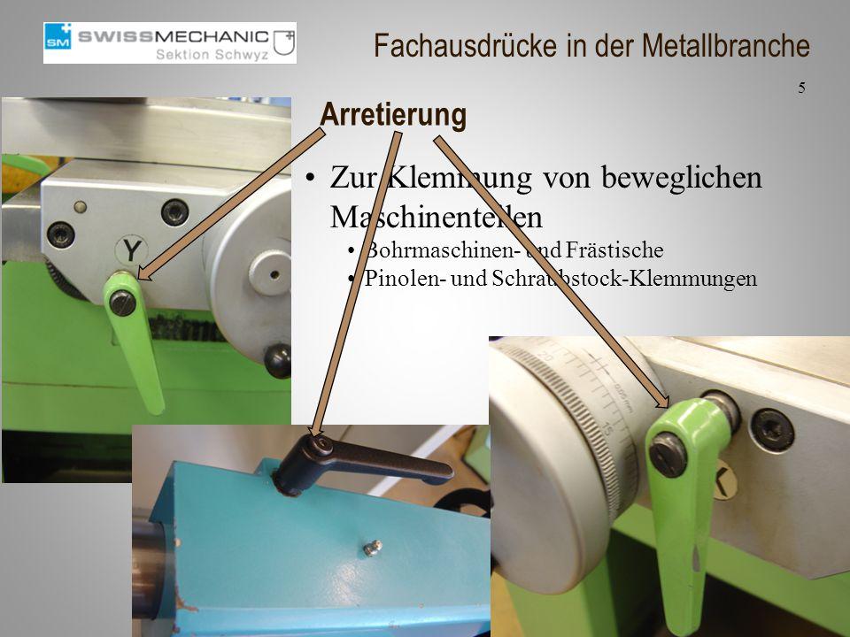 Arretierung Zur Klemmung von beweglichen Maschinenteilen Bohrmaschinen- und Frästische Pinolen- und Schraubstock-Klemmungen 5 Fachausdrücke in der Met
