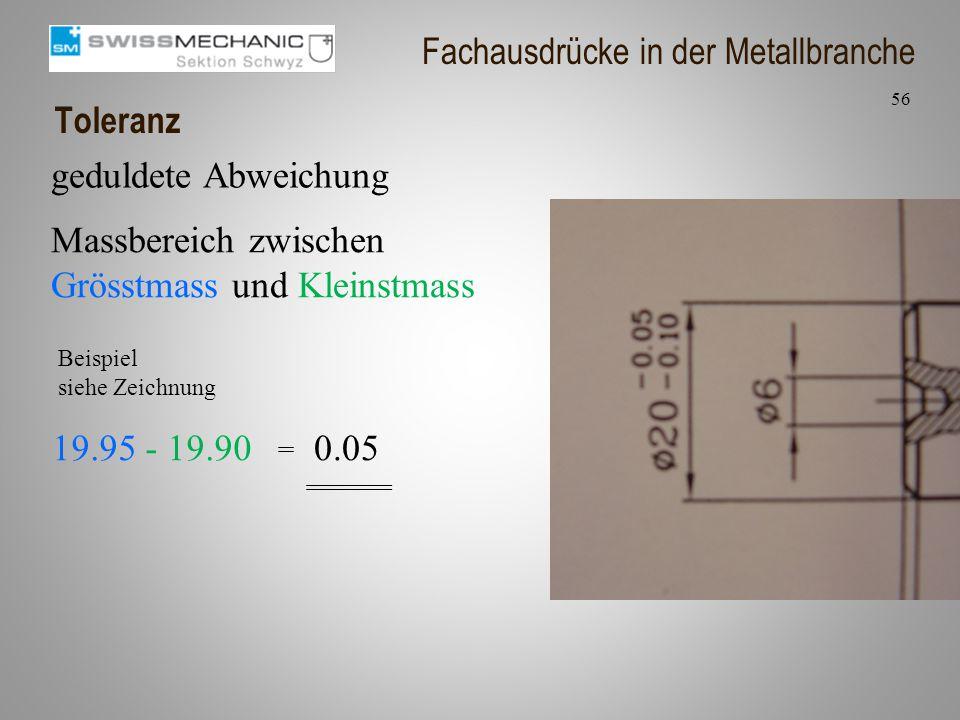 Toleranz Massbereich zwischen Grösstmass und Kleinstmass 56 Fachausdrücke in der Metallbranche geduldete Abweichung 19.95 - 19.90 0.05 Beispiel siehe