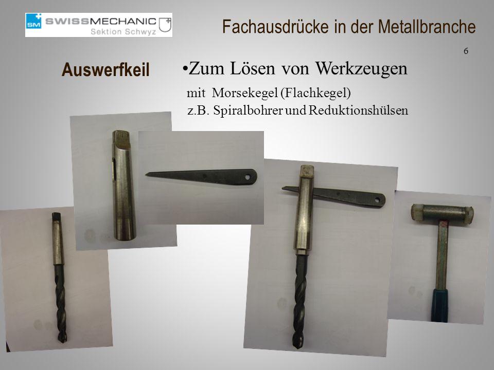 Auswerfkeil Zum Lösen von Werkzeugen mit Morsekegel (Flachkegel) z.B. Spiralbohrer und Reduktionshülsen 6 Fachausdrücke in der Metallbranche