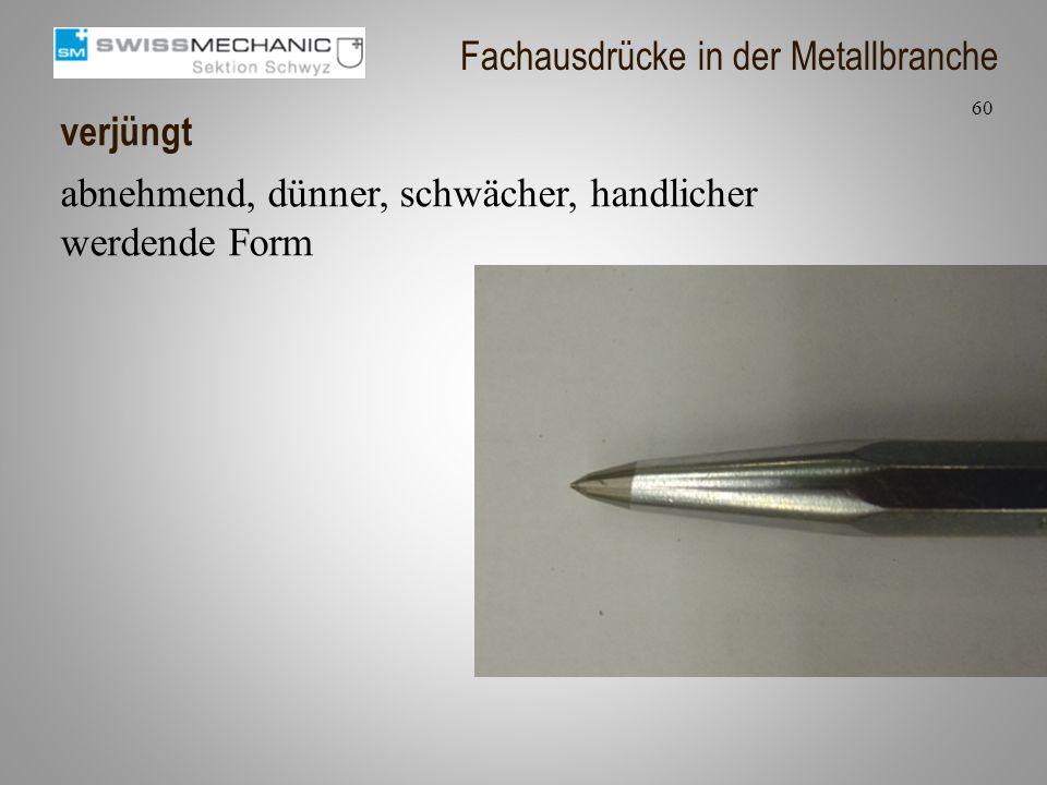 verjüngt abnehmend, dünner, schwächer, handlicher werdende Form 60 Fachausdrücke in der Metallbranche