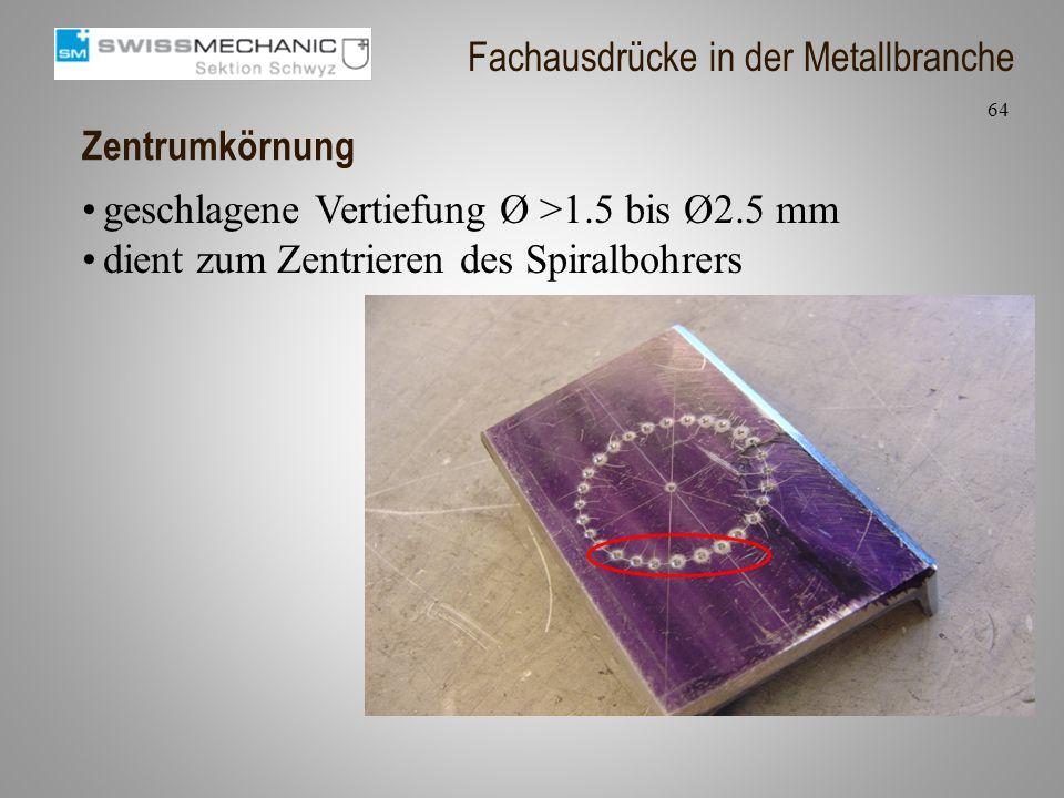 Zentrumkörnung geschlagene Vertiefung Ø >1.5 bis Ø2.5 mm dient zum Zentrieren des Spiralbohrers 64 Fachausdrücke in der Metallbranche