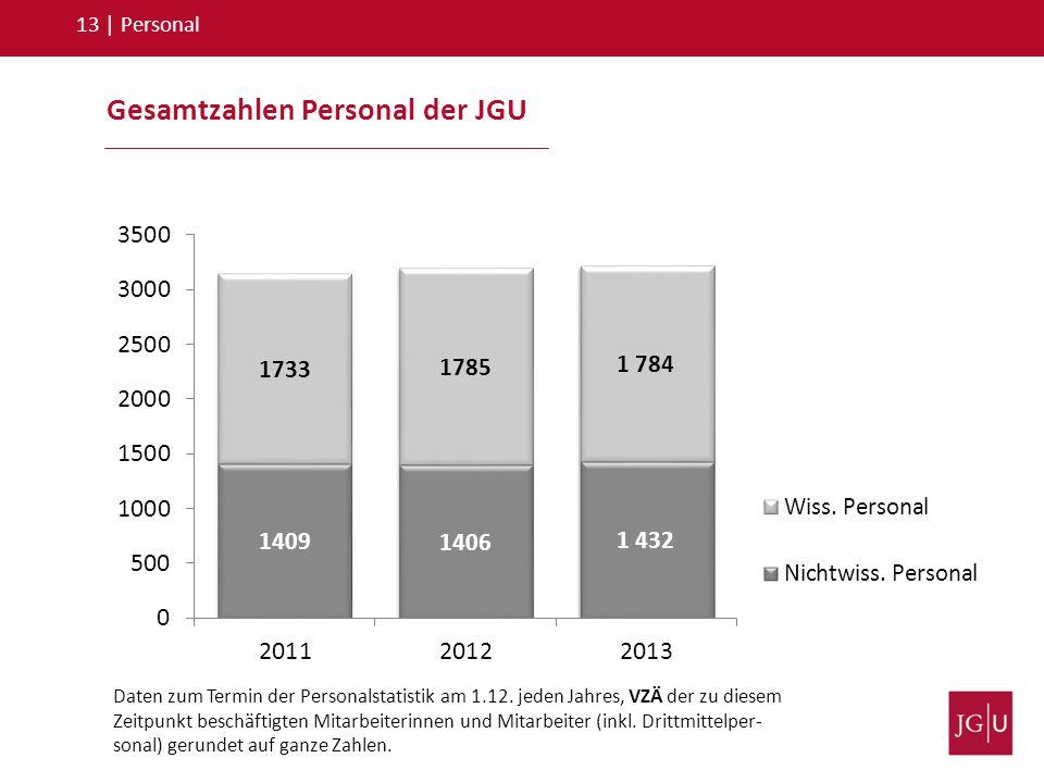 Gesamtzahlen Personal der JGU 13   Personal Daten zum Termin der Personalstatistik am 1.12. jeden Jahres, VZÄ der zu diesem Zeitpunkt beschäftigten Mi