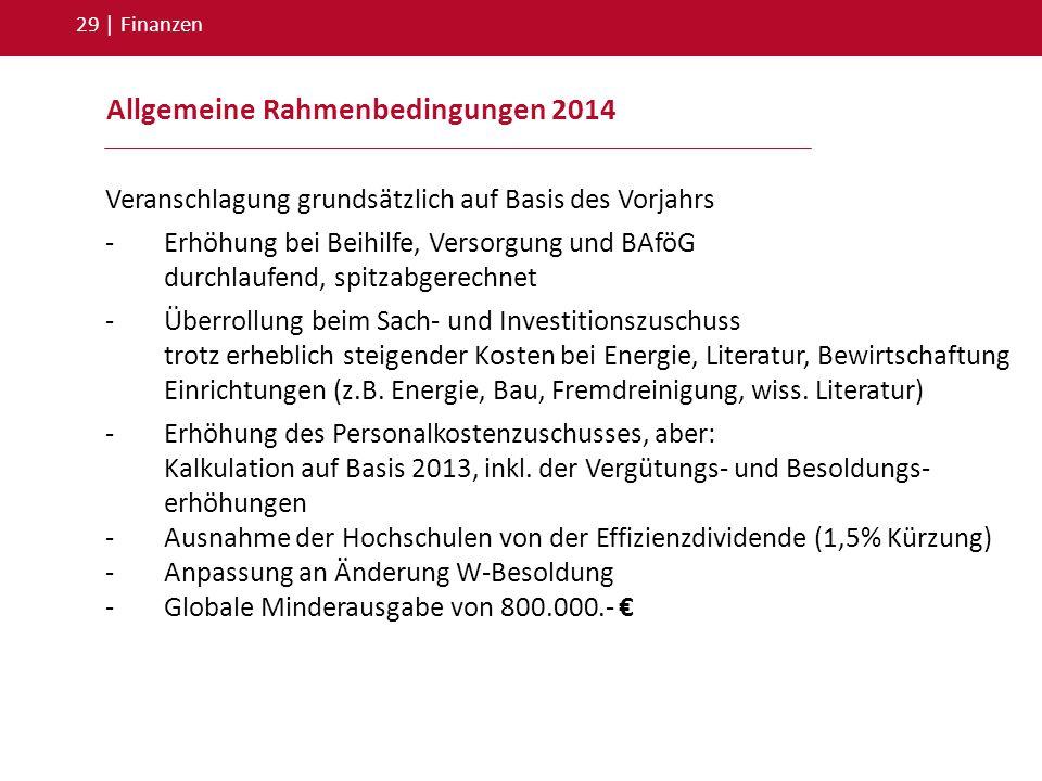 Allgemeine Rahmenbedingungen 2014 29   Finanzen Veranschlagung grundsätzlich auf Basis des Vorjahrs -Erhöhung bei Beihilfe, Versorgung und BAföG durch