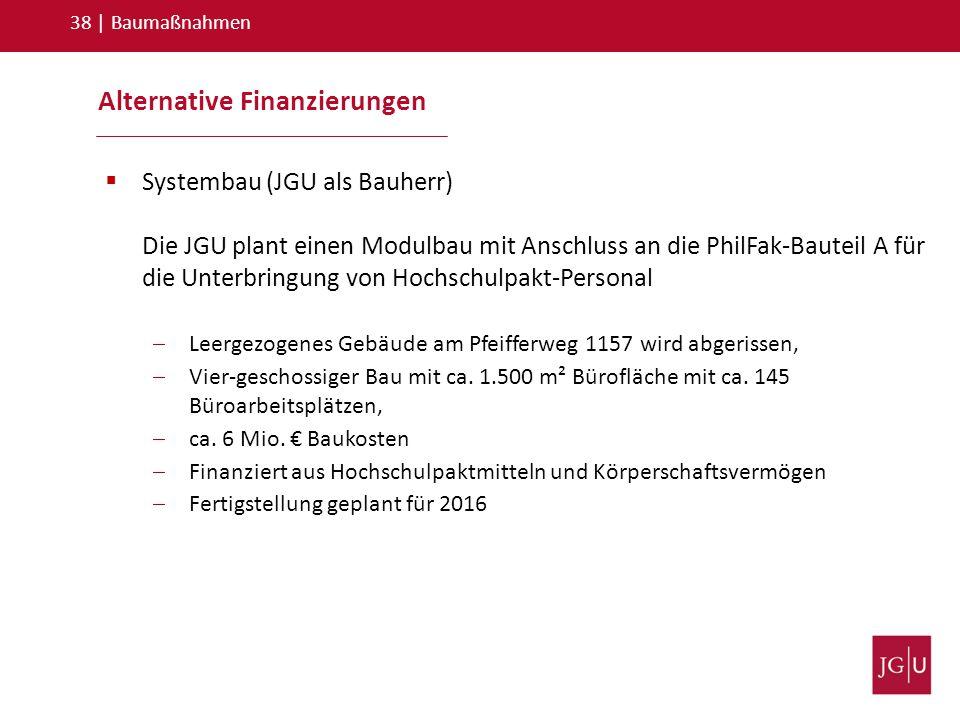 Alternative Finanzierungen 38   Baumaßnahmen  Systembau (JGU als Bauherr) Die JGU plant einen Modulbau mit Anschluss an die PhilFak-Bauteil A für die