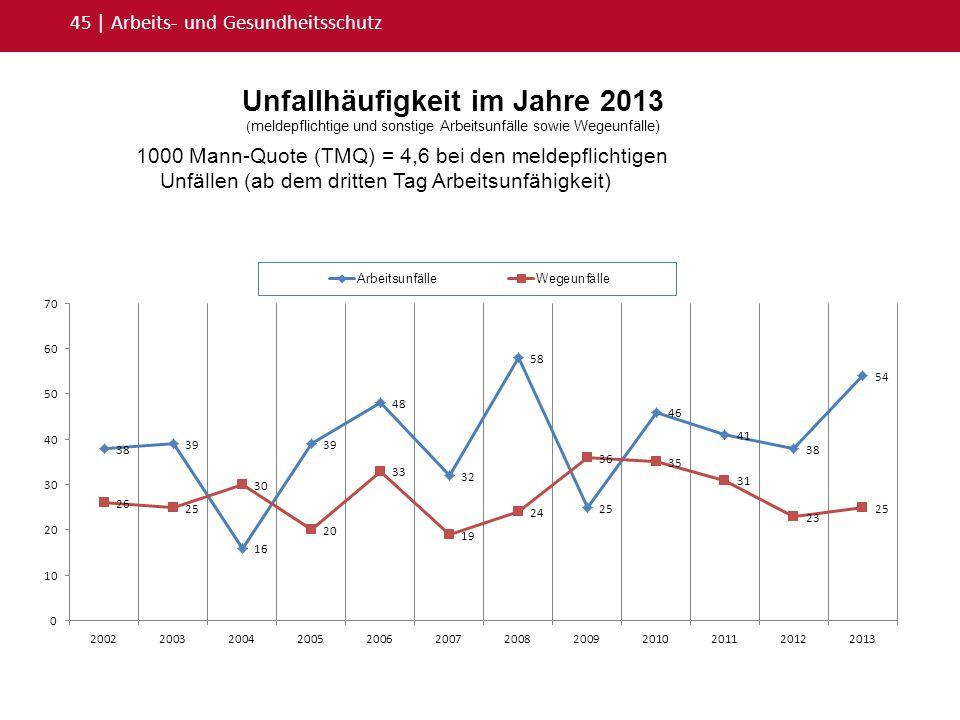 Unfallhäufigkeit im Jahre 2013 ( meldepflichtige und sonstige Arbeitsunfälle sowie Wegeunfälle) 45   Arbeits- und Gesundheitsschutz 1000 Mann-Quote (T