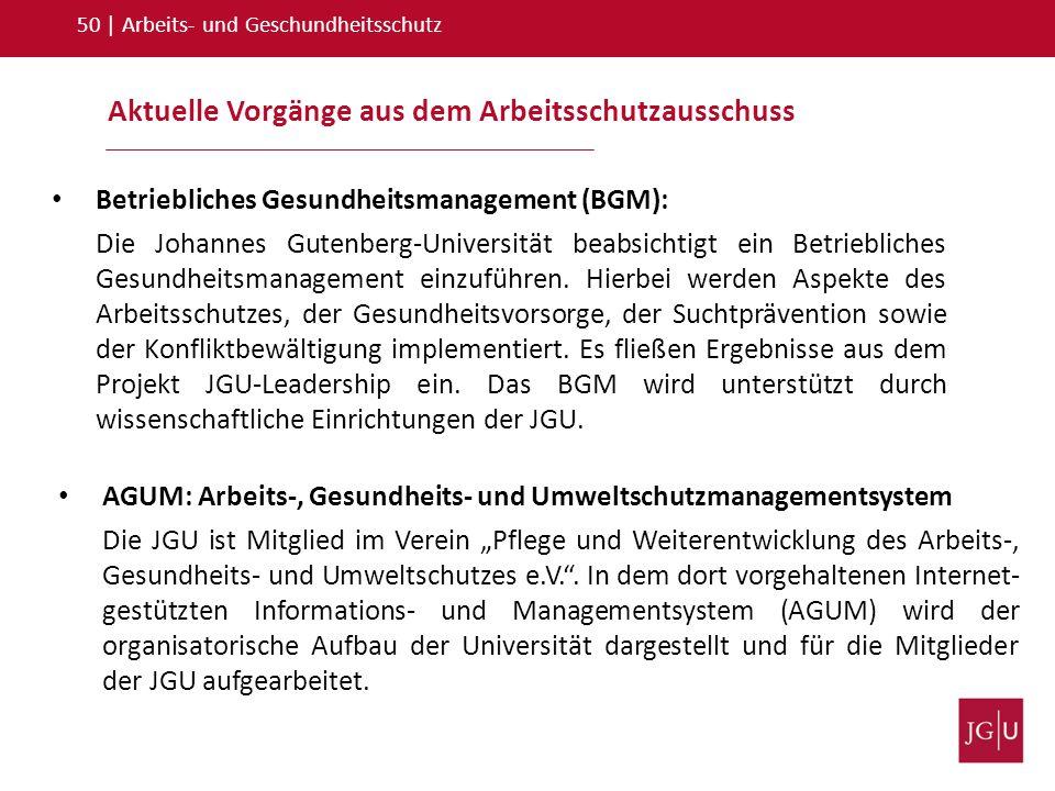 Aktuelle Vorgänge aus dem Arbeitsschutzausschuss 50   Arbeits- und Geschundheitsschutz Betriebliches Gesundheitsmanagement (BGM): Die Johannes Gutenbe