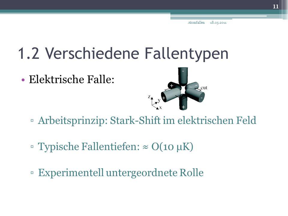 1.2 Verschiedene Fallentypen Elektrische Falle: ▫Arbeitsprinzip: Stark-Shift im elektrischen Feld ▫Typische Fallentiefen: ≈ O(10 μK) ▫Experimentell un