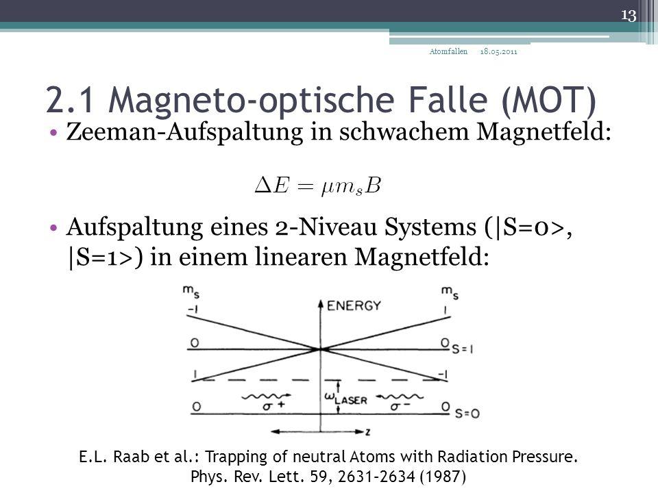 2.1 Magneto-optische Falle (MOT) Zeeman-Aufspaltung in schwachem Magnetfeld: Aufspaltung eines 2-Niveau Systems (|S=0>, |S=1>) in einem linearen Magne