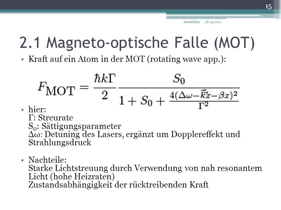 2.1 Magneto-optische Falle (MOT) 18.05.2011 15 Atomfallen Kraft auf ein Atom in der MOT (rotating wave app.): hier: Γ: Streurate S 0 : Sättigungsparam