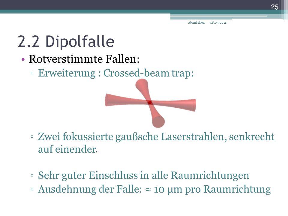 2.2 Dipolfalle Rotverstimmte Fallen: ▫Erweiterung : Crossed-beam trap: ▫Zwei fokussierte gaußsche Laserstrahlen, senkrecht auf einender ▫Sehr guter Ei
