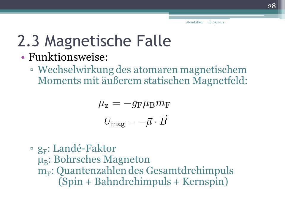 2.3 Magnetische Falle Funktionsweise: ▫Wechselwirkung des atomaren magnetischem Moments mit äußerem statischen Magnetfeld: ▫g F : Landé-Faktor μ B : B