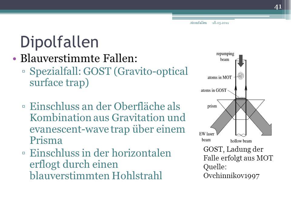 Dipolfallen Blauverstimmte Fallen: ▫Spezialfall: GOST (Gravito-optical surface trap) ▫Einschluss an der Oberfläche als Kombination aus Gravitation und