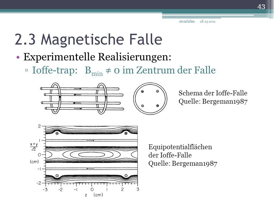 2.3 Magnetische Falle Experimentelle Realisierungen: ▫Ioffe-trap: B min ≠ 0 im Zentrum der Falle Schema der Ioffe-Falle Quelle: Bergeman1987 Equipoten
