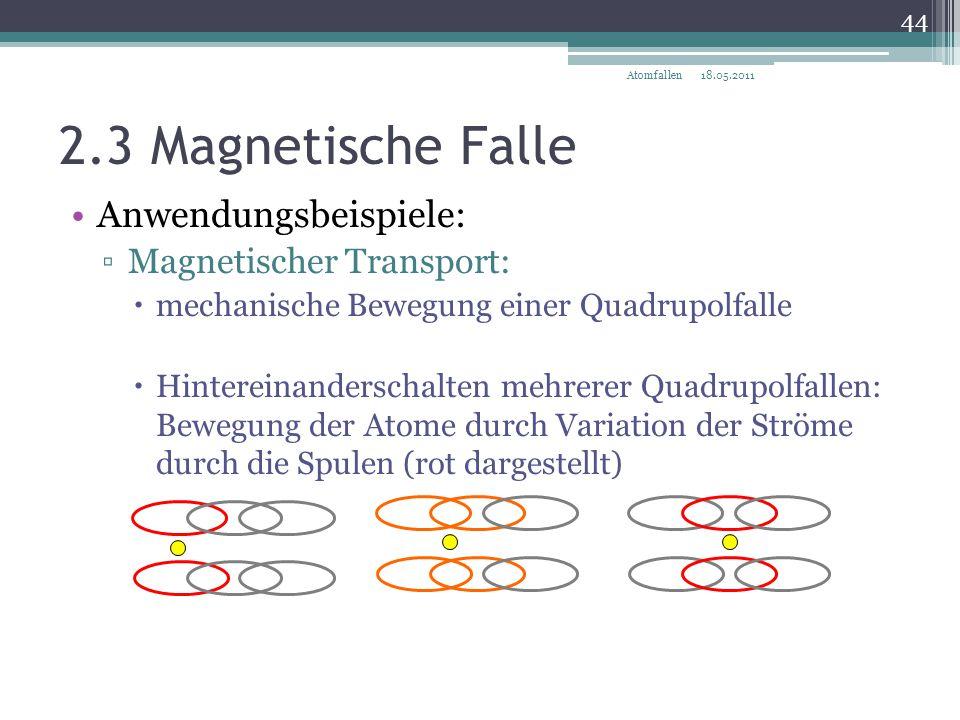 2.3 Magnetische Falle Anwendungsbeispiele: ▫Magnetischer Transport:  mechanische Bewegung einer Quadrupolfalle  Hintereinanderschalten mehrerer Quad