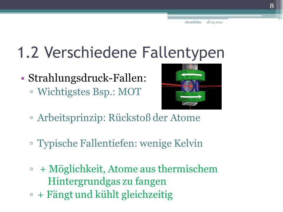 1.2 Verschiedene Fallentypen Strahlungsdruck-Fallen: ▫Wichtigstes Bsp.: MOT ▫Arbeitsprinzip: Rückstoß der Atome ▫Typische Fallentiefen: wenige Kelvin