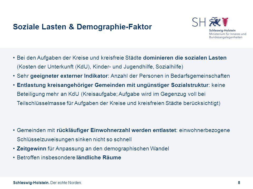 Schleswig-Holstein. Der echte Norden.8 Soziale Lasten & Demographie-Faktor Bei den Aufgaben der Kreise und kreisfreie Städte dominieren die sozialen L