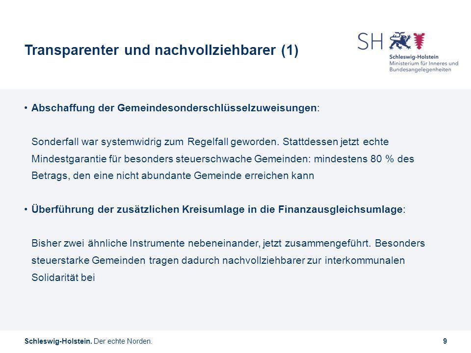 Schleswig-Holstein. Der echte Norden.9 Transparenter und nachvollziehbarer (1) Abschaffung der Gemeindesonderschlüsselzuweisungen: Sonderfall war syst