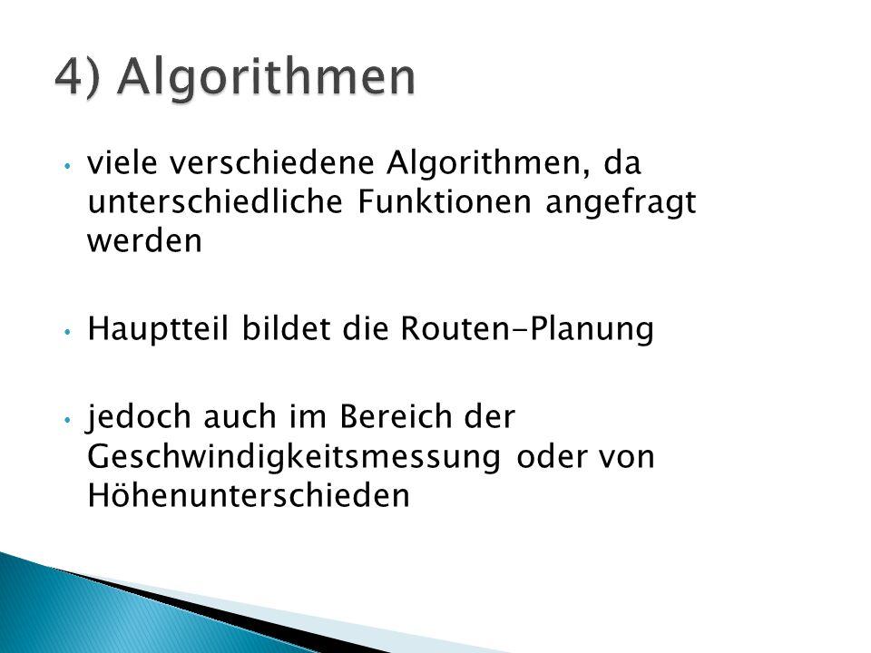 viele verschiedene Algorithmen, da unterschiedliche Funktionen angefragt werden Hauptteil bildet die Routen-Planung jedoch auch im Bereich der Geschwi