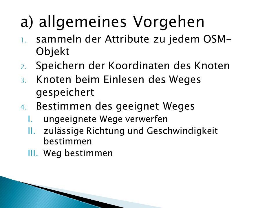 a) allgemeines Vorgehen 1. sammeln der Attribute zu jedem OSM- Objekt 2. Speichern der Koordinaten des Knoten 3. Knoten beim Einlesen des Weges gespei