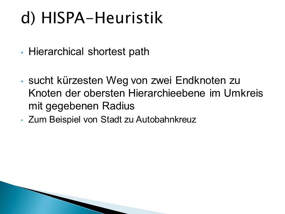 d) HISPA-Heuristik Hierarchical shortest path sucht kürzesten Weg von zwei Endknoten zu Knoten der obersten Hierarchieebene im Umkreis mit gegebenen R