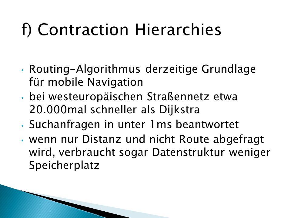 f) Contraction Hierarchies Routing-Algorithmus derzeitige Grundlage für mobile Navigation bei westeuropäischen Straßennetz etwa 20.000mal schneller al