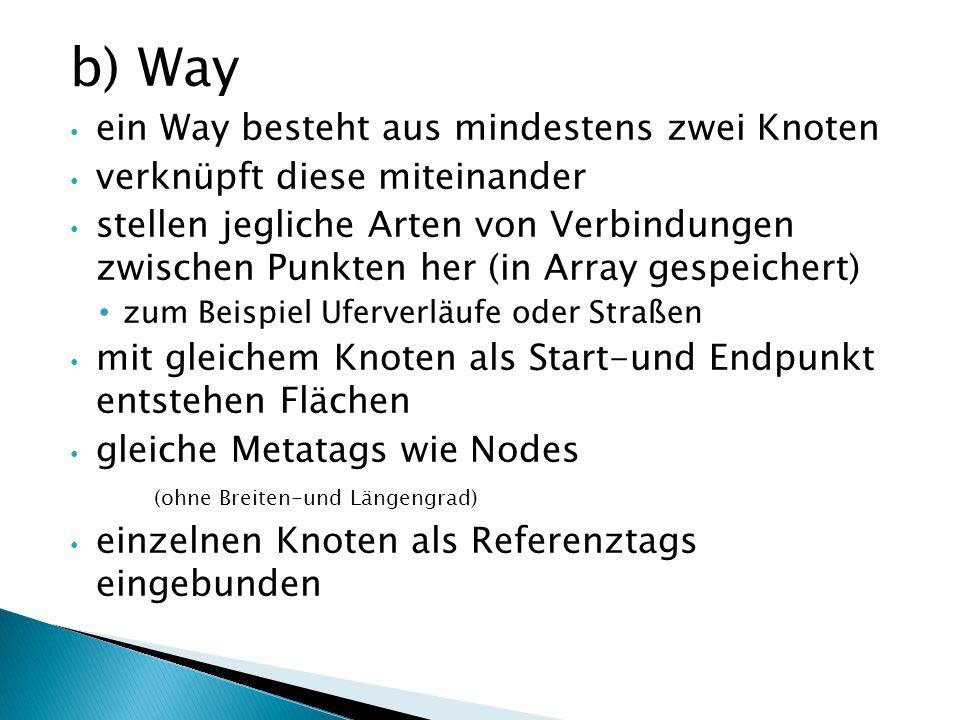 b) Way ein Way besteht aus mindestens zwei Knoten verknüpft diese miteinander stellen jegliche Arten von Verbindungen zwischen Punkten her (in Array g