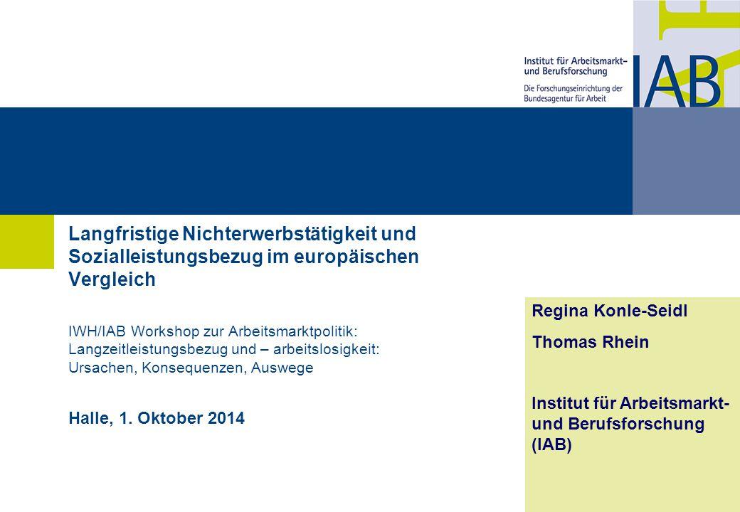 Langfristige Nichterwerbstätigkeit und Sozialleistungsbezug im europäischen Vergleich IWH/IAB Workshop zur Arbeitsmarktpolitik: Langzeitleistungsbezug und – arbeitslosigkeit: Ursachen, Konsequenzen, Auswege Halle, 1.