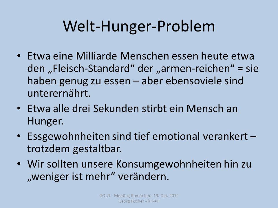 """Welt-Hunger-Problem Etwa eine Milliarde Menschen essen heute etwa den """"Fleisch-Standard der """"armen-reichen = sie haben genug zu essen – aber ebensoviele sind unterernährt."""