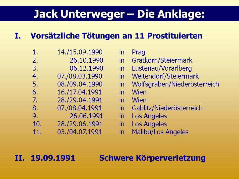 I.Vorsätzliche Tötungen an 11 Prostituierten 1.14./15.09.1990in Prag 2. 26.10.1990in Gratkorn/Steiermark 3. 06.12.1990in Lustenau/Vorarlberg 4.07./08.