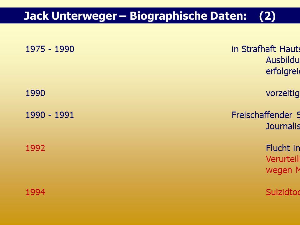"""1975 - 1990in Strafhaft Hautschulabschluss Ausbildung zum Schriftsteller, erfolgreicher """"Häfenpoet"""" 1990vorzeitige bedingte Entlassung 1990 - 1991Frei"""
