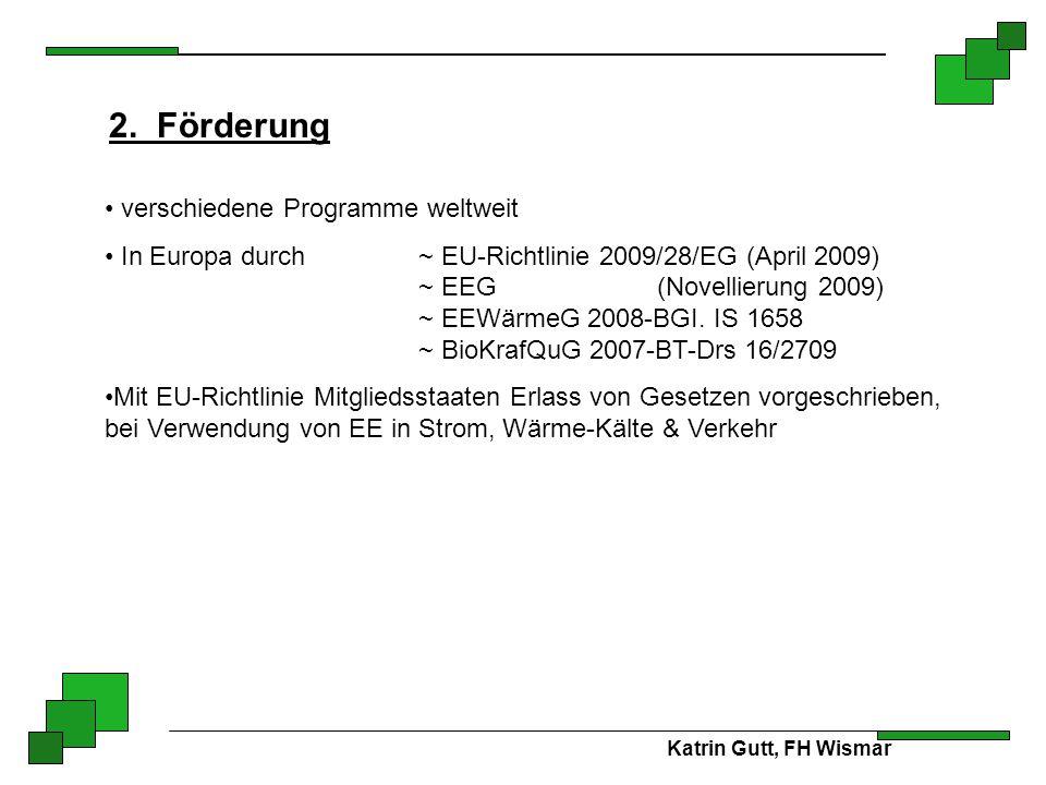 Katrin Gutt, FH Wismar 2. Förderung verschiedene Programme weltweit In Europa durch~ EU-Richtlinie 2009/28/EG (April 2009) ~ EEG (Novellierung 2009) ~
