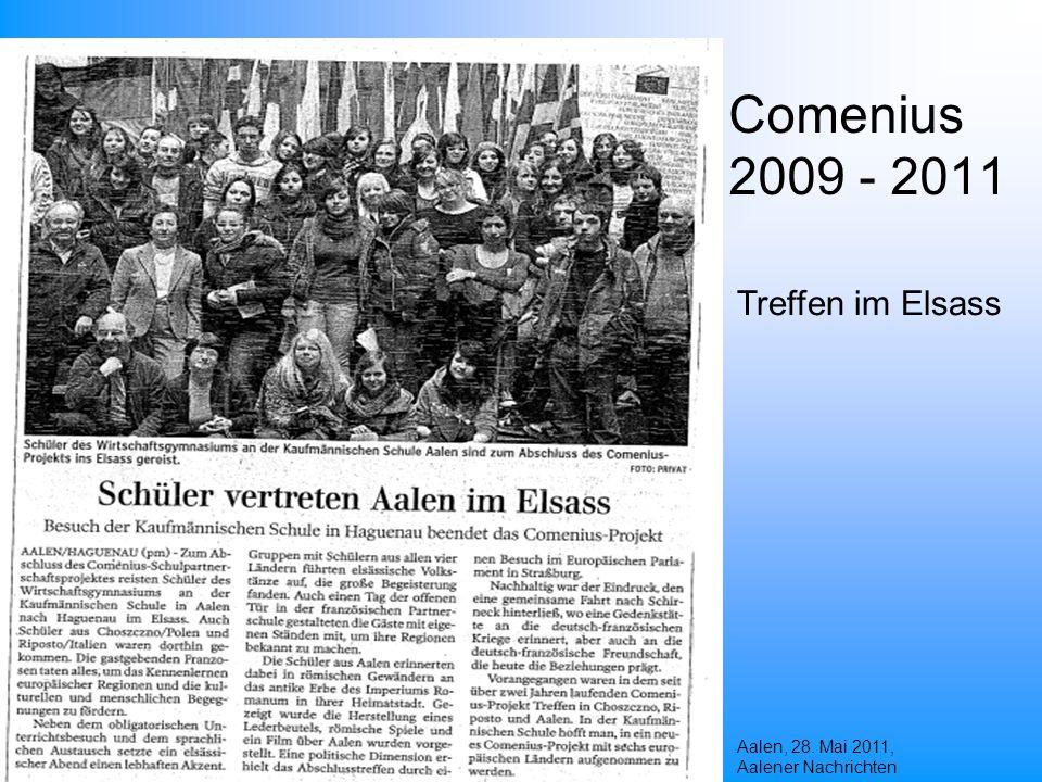Comenius 2009 - 2011 Treffen im Elsass Aalen, 28. Mai 2011, Aalener Nachrichten