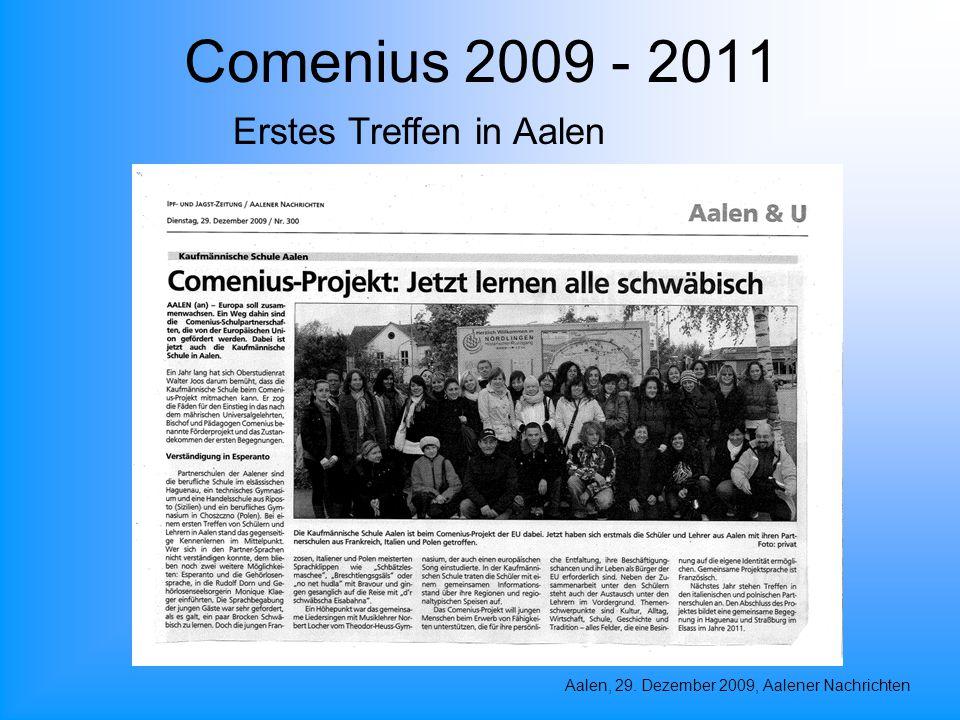 Comenius 2009 - 2011 Aalen, 29. Dezember 2009, Aalener Nachrichten Erstes Treffen in Aalen